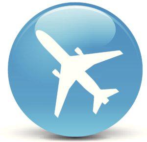 Light blue plane button