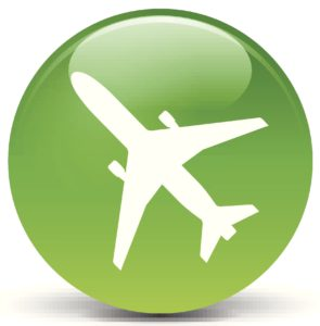 Green Airplane button